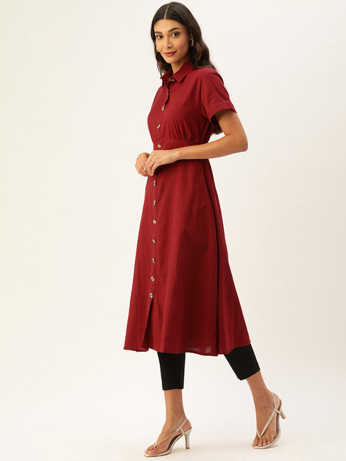 Bright Red Short Sleeve Dress Style Kurta