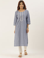 Denim Chikankari Embroidery Kurta