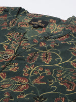 Green  Brown Floral  Hand Block Printed Kurta
