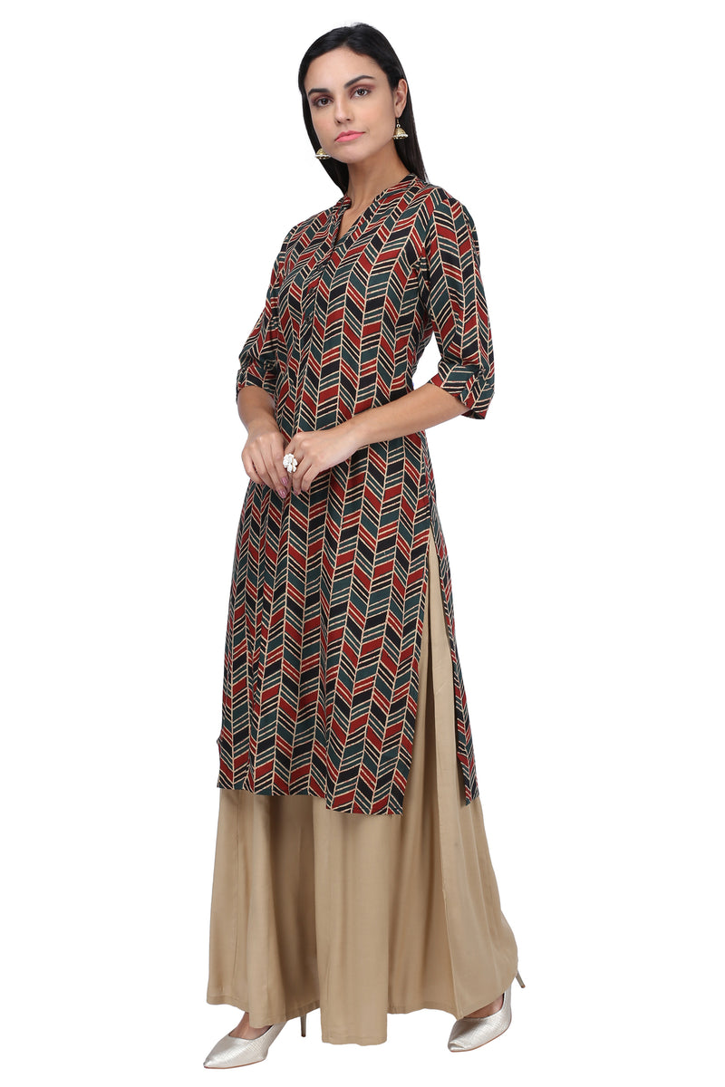 Green Red Geometrical Kurta