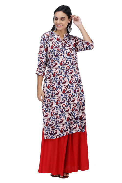 Blue and red Floral Kurta