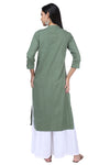 Green Pleated Essential Kurta