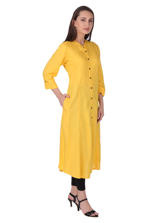 Amber Yellow Essential A-Line Kurta