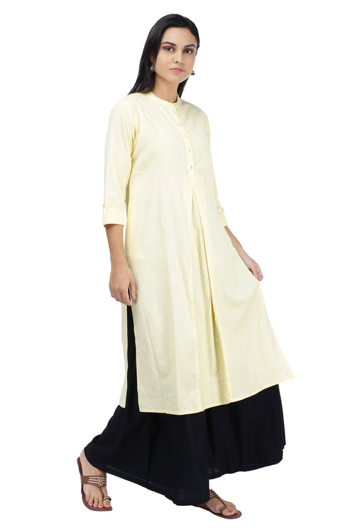Cream Pleated Essential Kurta