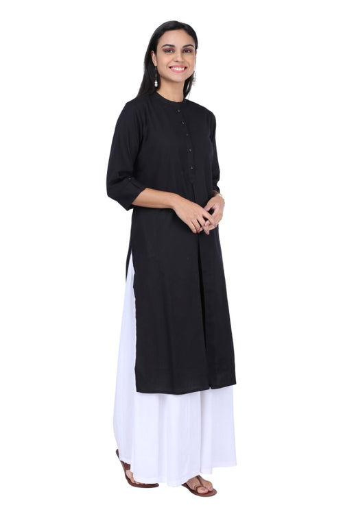 Black Pleated Essential Kurta