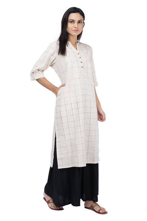 Beige Checks Printed Kurta