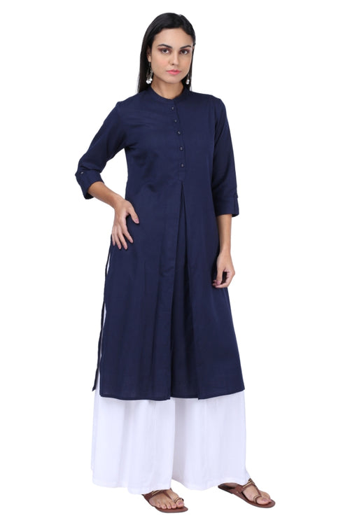 Indigo Pleated Essential Kurta