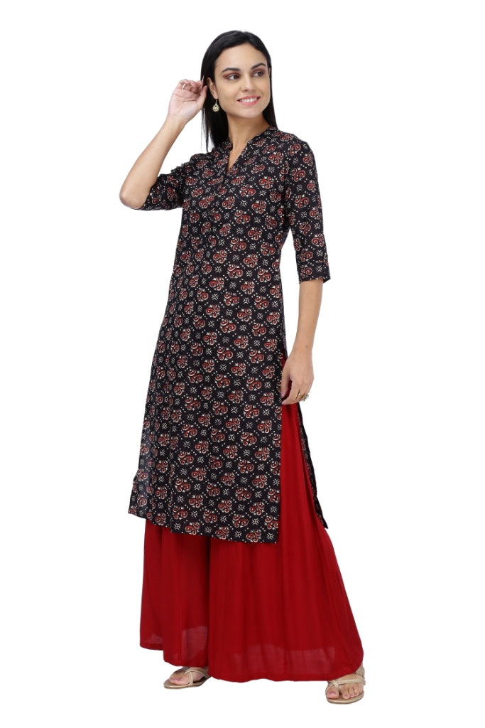 Black and red Bagru Printed Kurta
