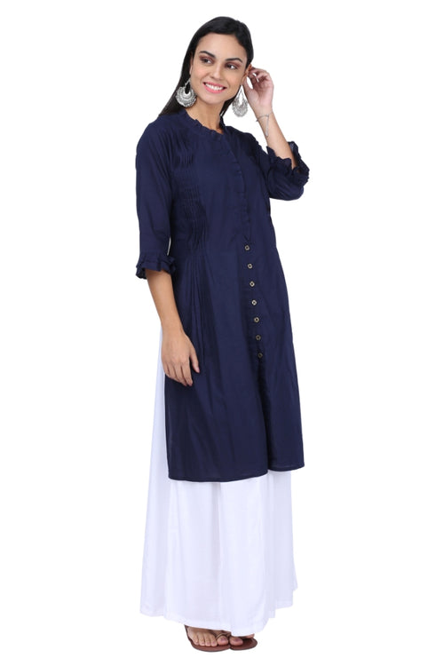 Ink Blue Pleated Essential Kurta