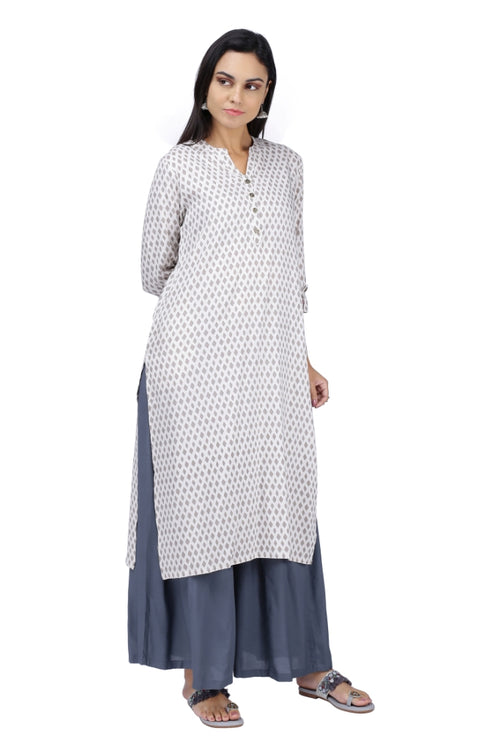 Beige Diamond Printed Kurta