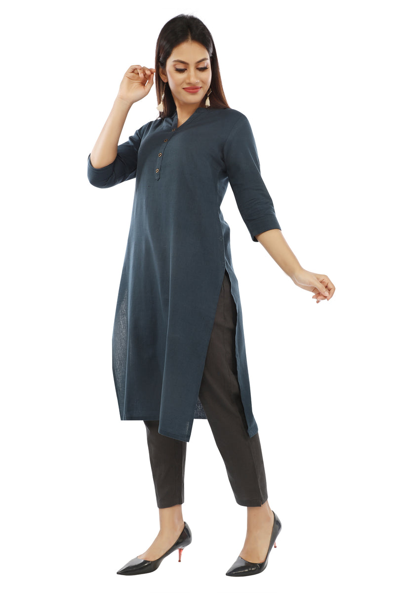 Petrol Blue Essential Solid Kurta