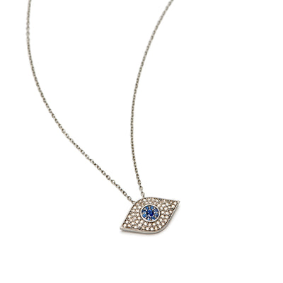 Large Diamond Evil Eye with Sapphire