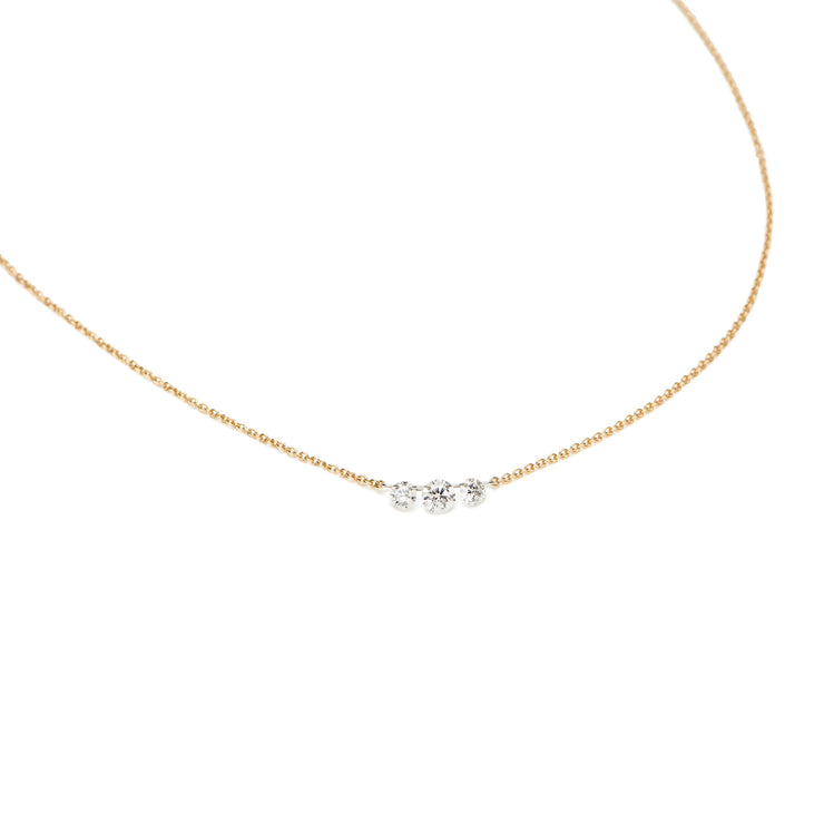 Triple Diamond Floating Necklace