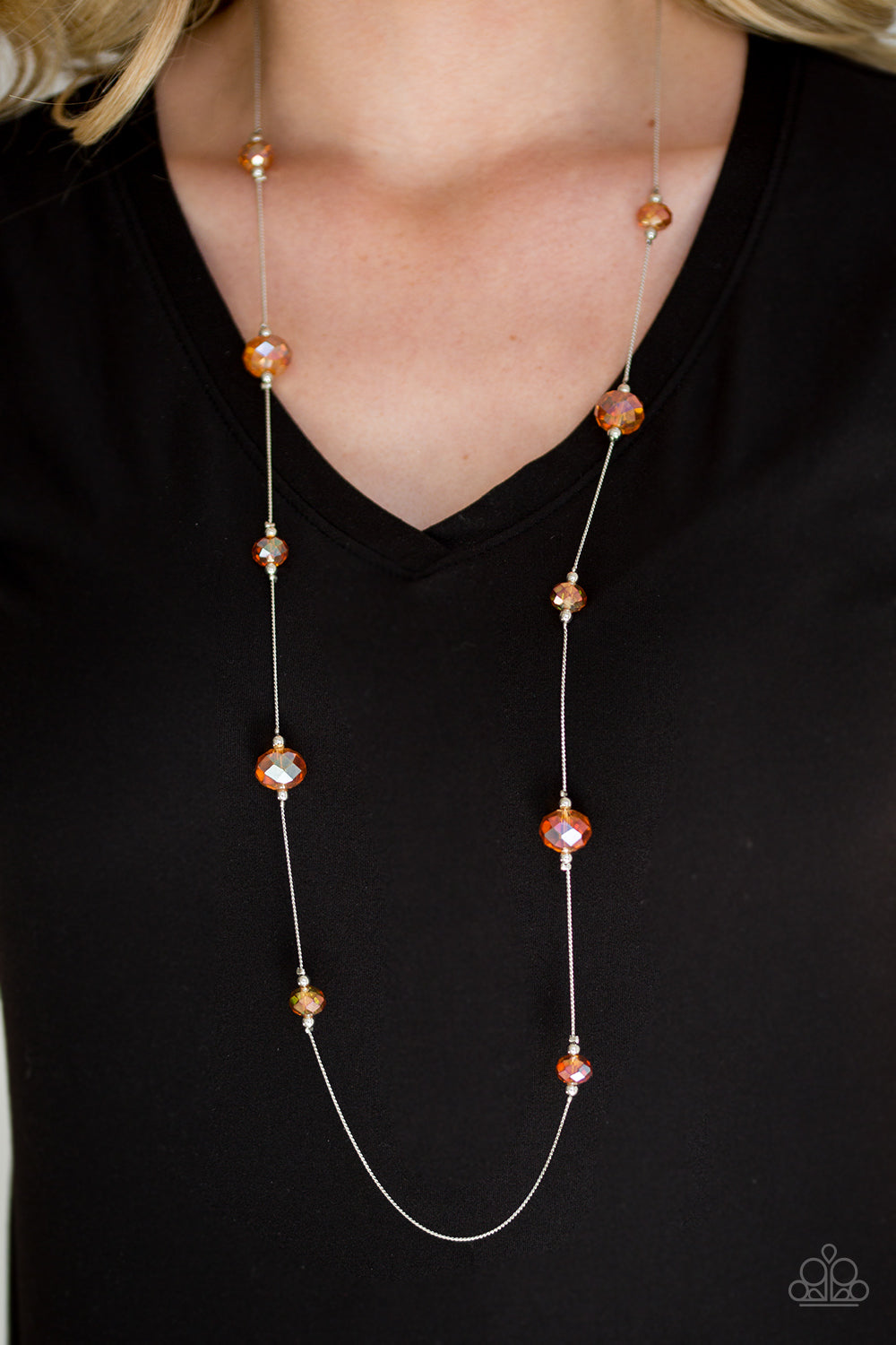 Champagne On The Rocks - Orange Necklace