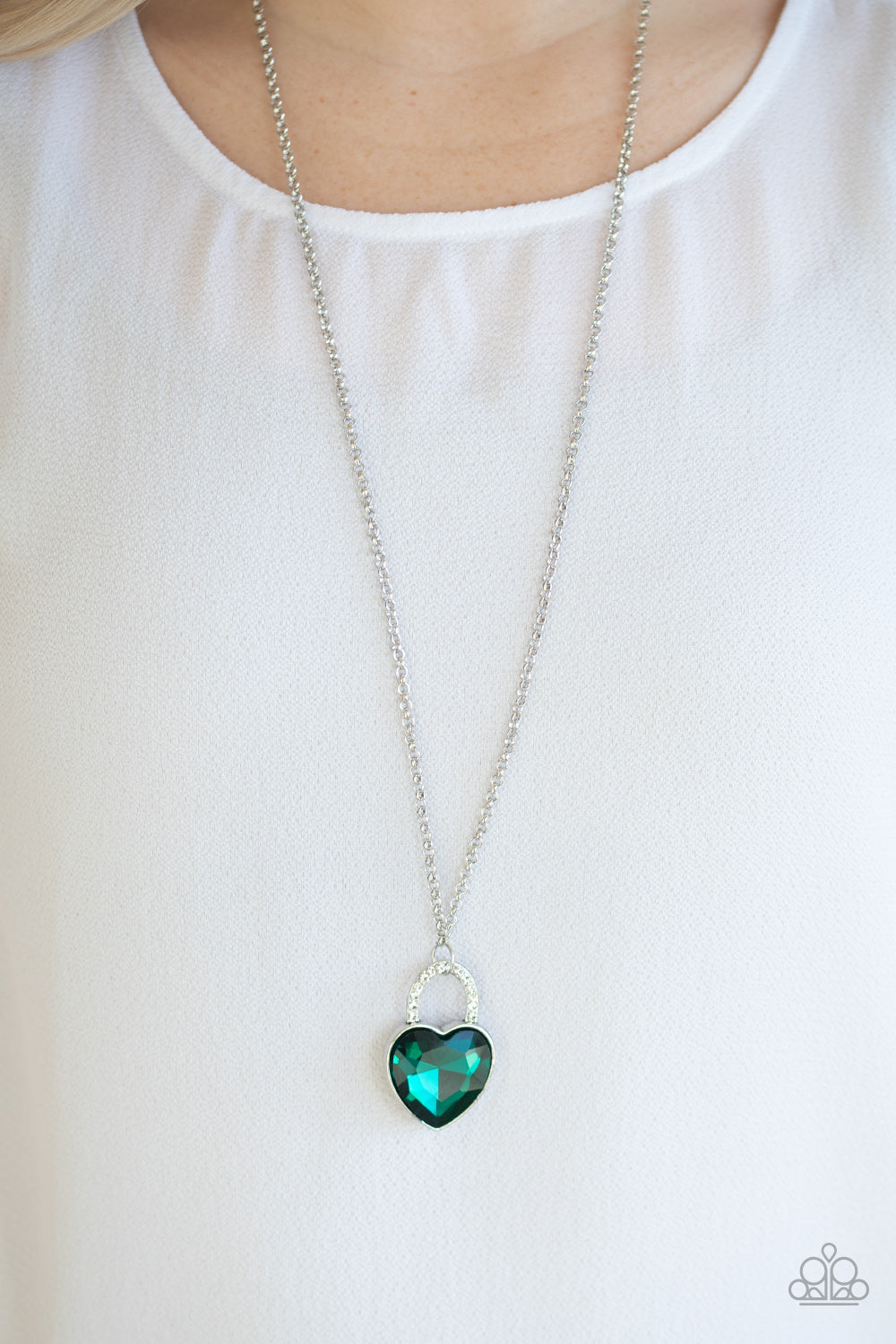 Locked in Love - Green Necklace
