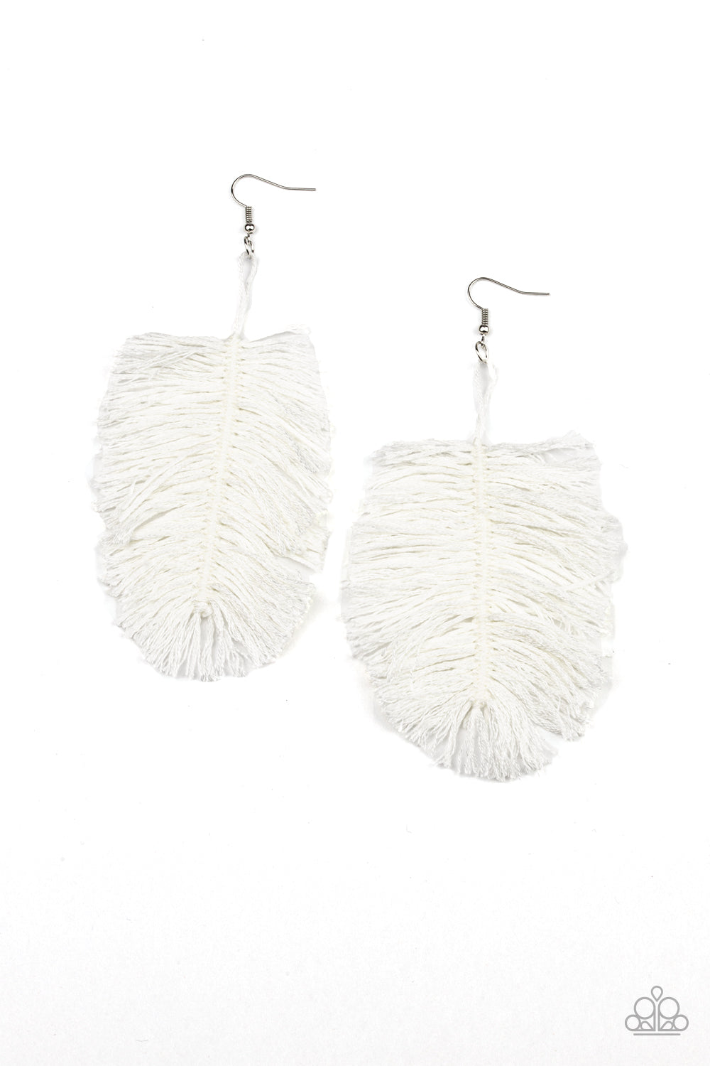 Hanging by a Thread - White Earring