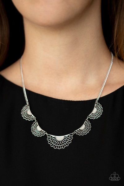 Fanned Out Fashion - Silver Necklace