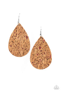 CORK It Over - Pink Earring