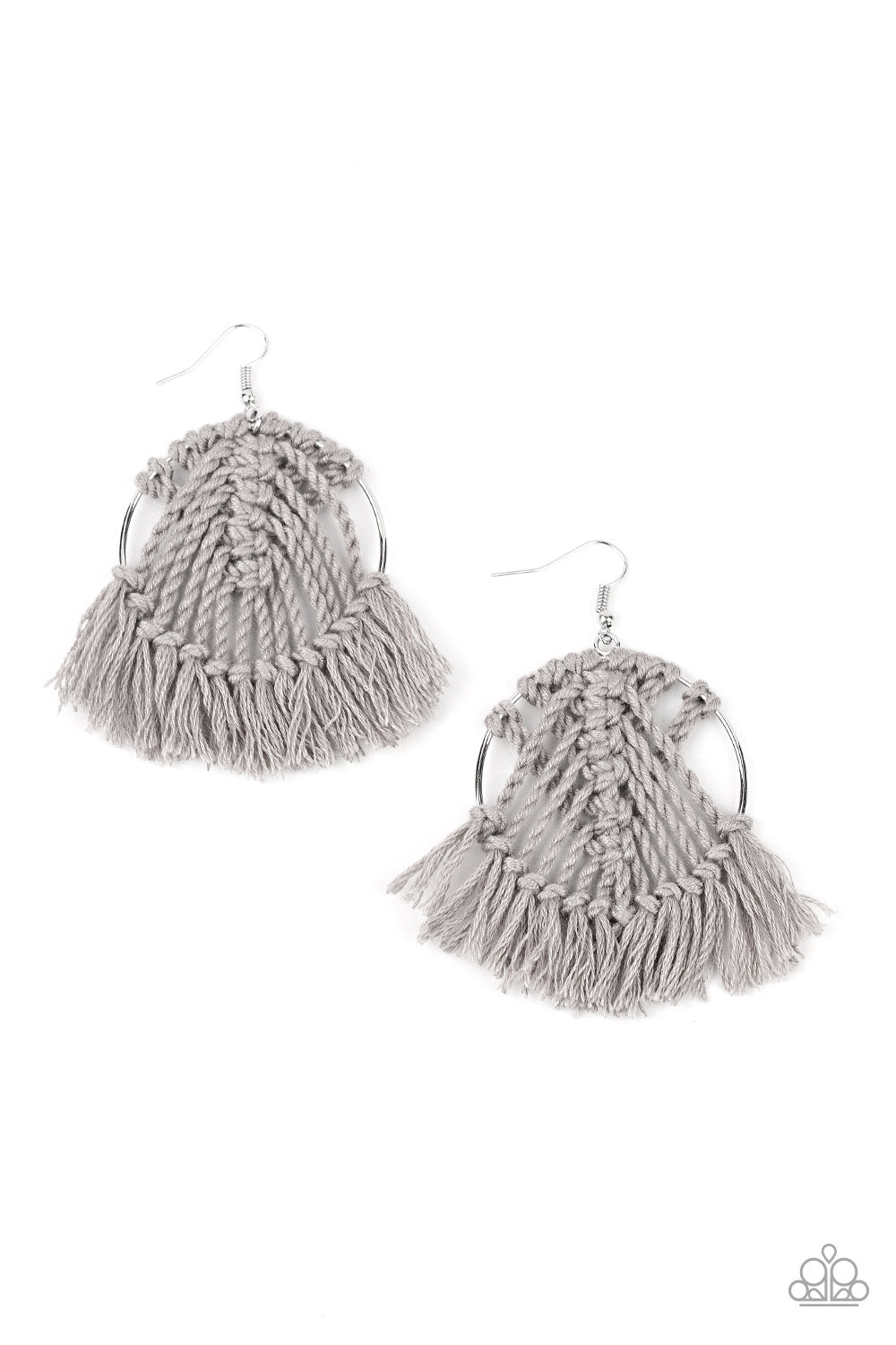 All About Macrame Silver Earring
