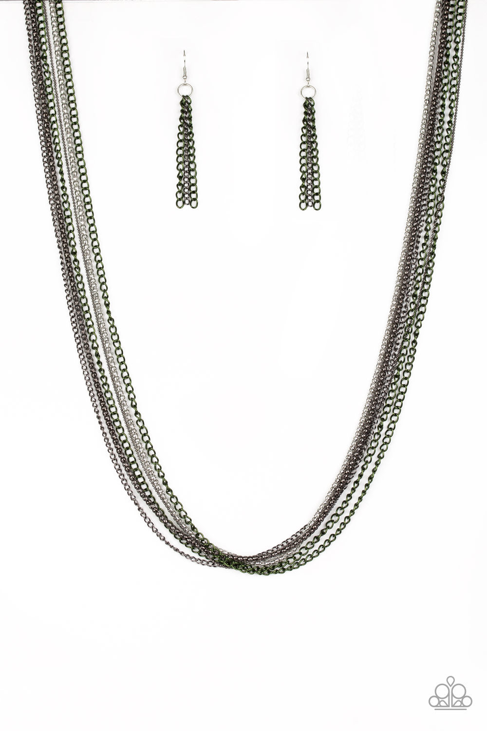 Colorful Calamity - Green Necklace