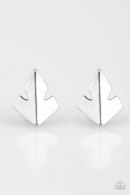 Fire Drill Silver Post Earring
