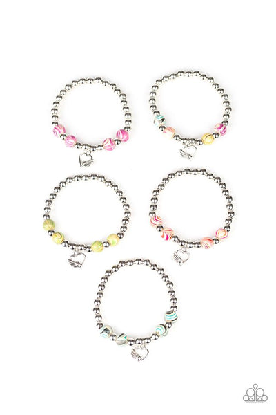 Kids Pastel Heart Charm Bracelets-Set of 5