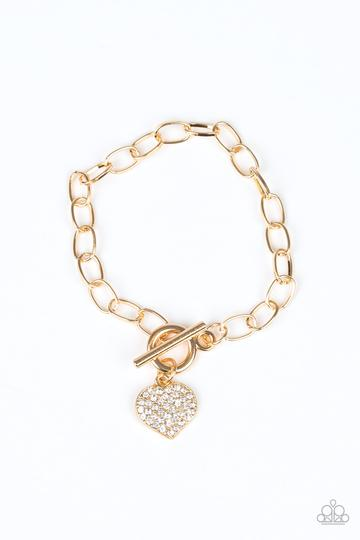 Lots of Love - Gold - White Rhinestones Heart Toggle  Bracelet