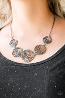 Rosy Rosette Black Necklace