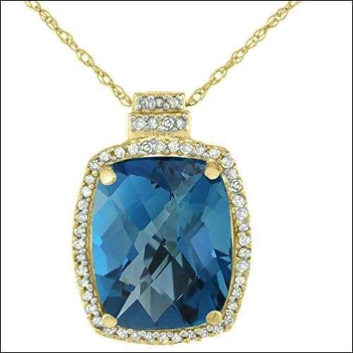 10K London Blue Gold & Yellow Octagon Pendant Necklace