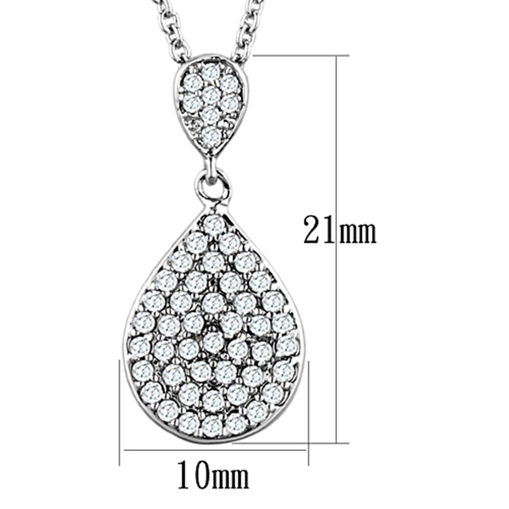 3W720 Rhodium Brass Necklace with AAA Grade CZ in Clear