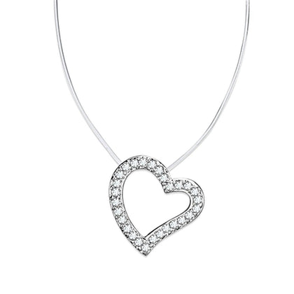 3W420 Rhodium Brass Necklace with AAA Grade CZ in Clear