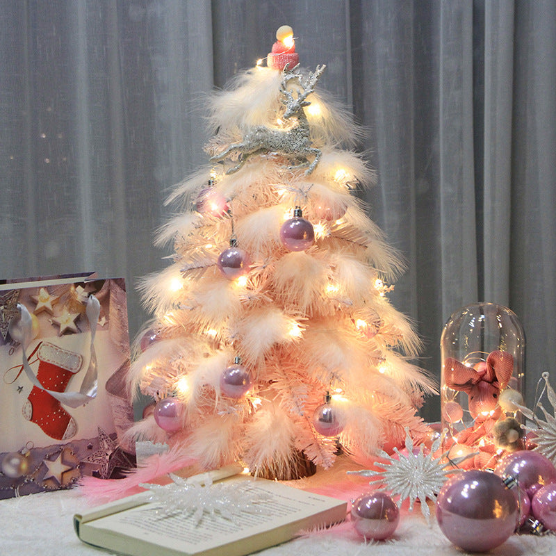 Christmas Ornament Desktop Small Tree Christmas Tree Pink Feather Decoration Tree