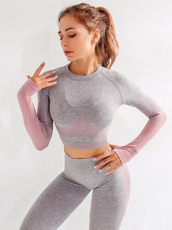 Long Sleeve Crop Top with leggings