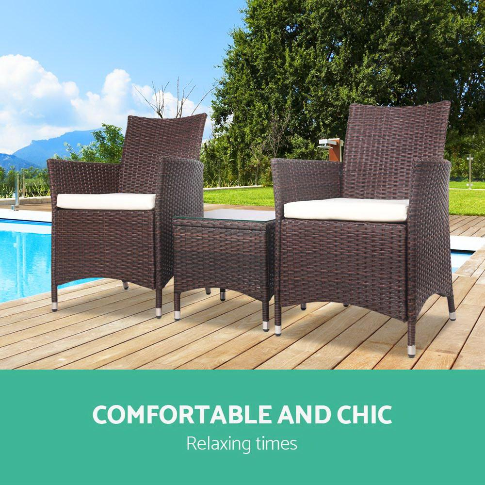 Gardeon 3 Piece Wicker Outdoor Furniture Set - Brown