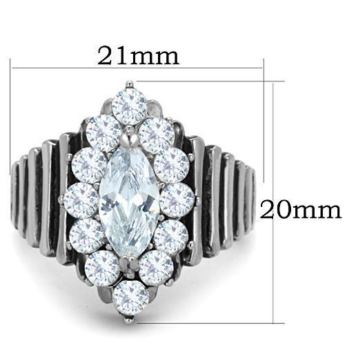 TK1517 High polished (no plating) Stainless Steel Ring with AAA Grade CZ in Clear