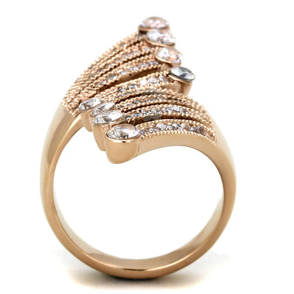 TK1631 IP Rose Gold(Ion Plating) Stainless Steel Ring with AAA Grade CZ in Clear