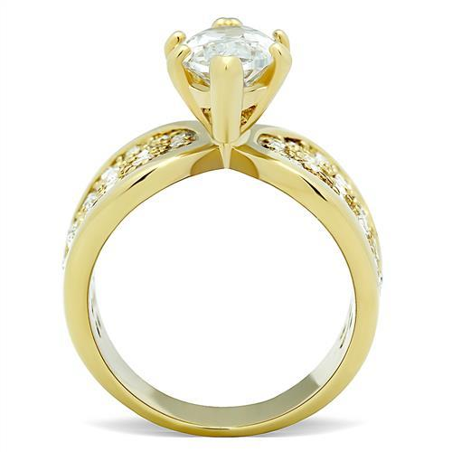 TK1672 IP Gold(Ion Plating) Stainless Steel Ring with AAA Grade CZ in Clear
