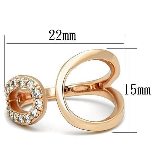 TK1694 IP Rose Gold(Ion Plating) Stainless Steel Ring with AAA Grade CZ in Clear