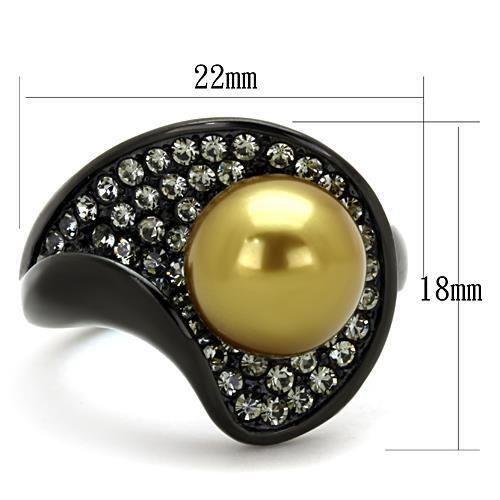 TK1732 IP Black(Ion Plating) Stainless Steel Ring with Synthetic in Champagne