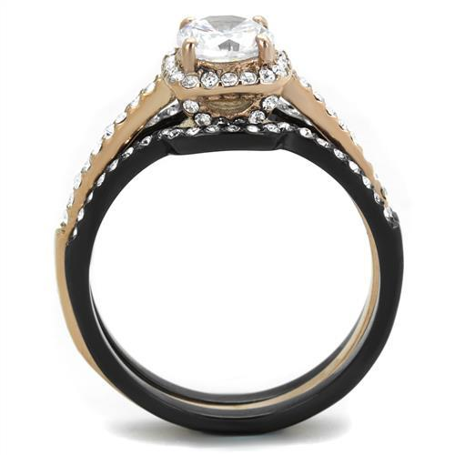 TK2020 IP Rose Gold+ IP Black (Ion Plating) Stainless Steel Ring with AAA Grade CZ in Clear