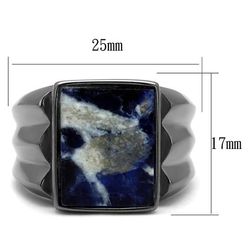 TK3012 IP Light Black  (IP Gun) Stainless Steel Ring with Semi-Precious in Capri Blue
