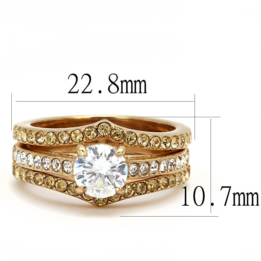 TK3264 IP Rose Gold(Ion Plating) Stainless Steel Ring with AAA Grade CZ in Clear