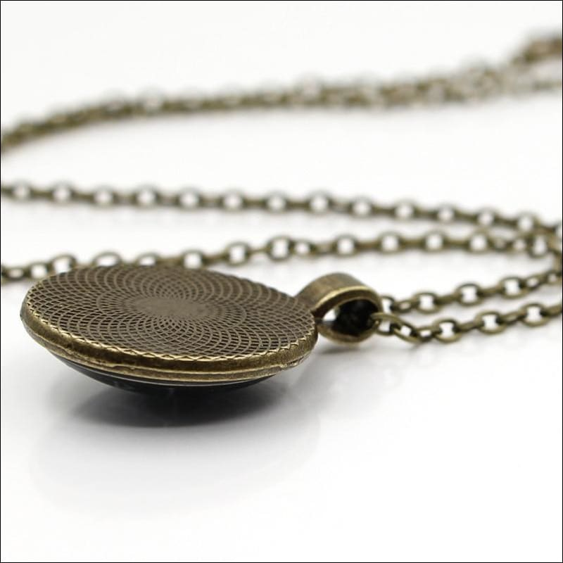 Antique Bronze Cabochon Pendant Necklace