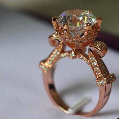 3 Carat Solid Rose Gold Oxhead Ritzy Moissanite Ring