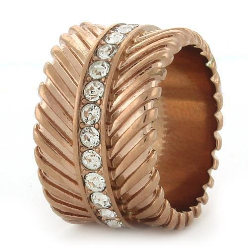 GL202 IP Rose Gold(Ion Plating) Brass Ring with Top Grade Crystal in Clear