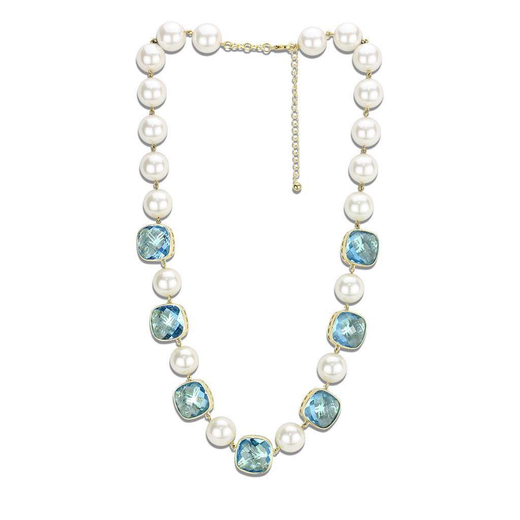 LO4706 Gold Brass Necklace with Synthetic in Sea Blue