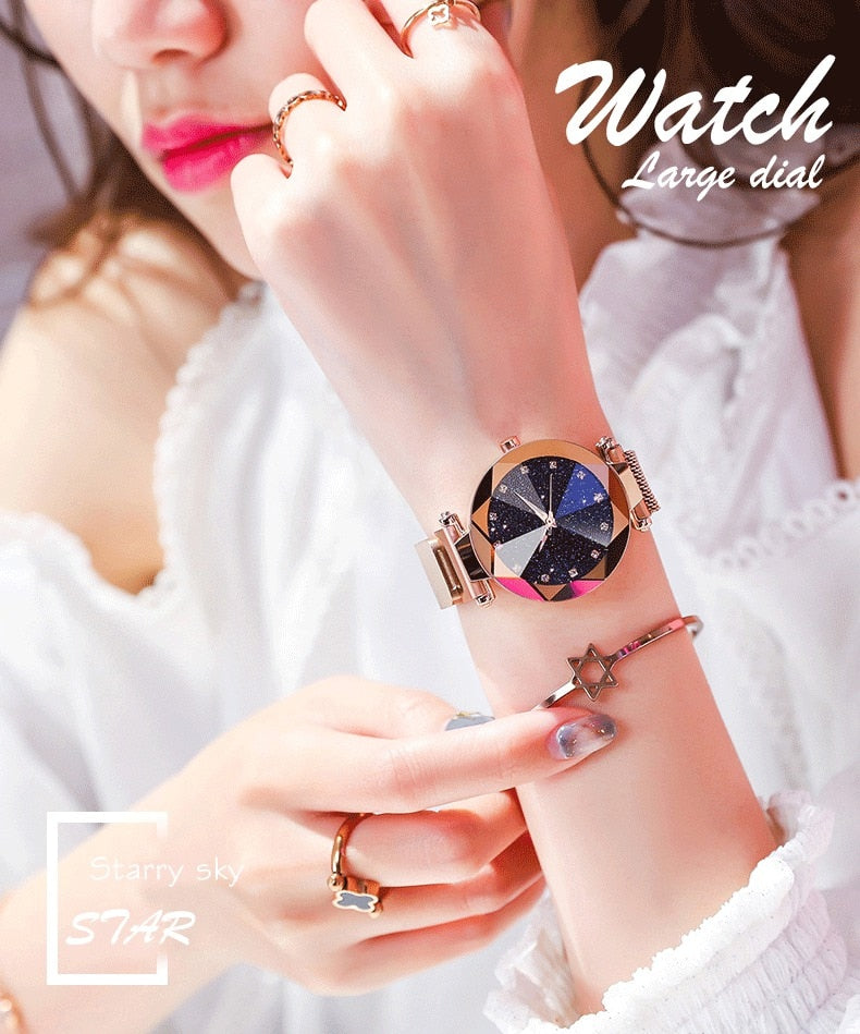 Ladies Magnetic Starry Sky Clock Luxury Women Watches