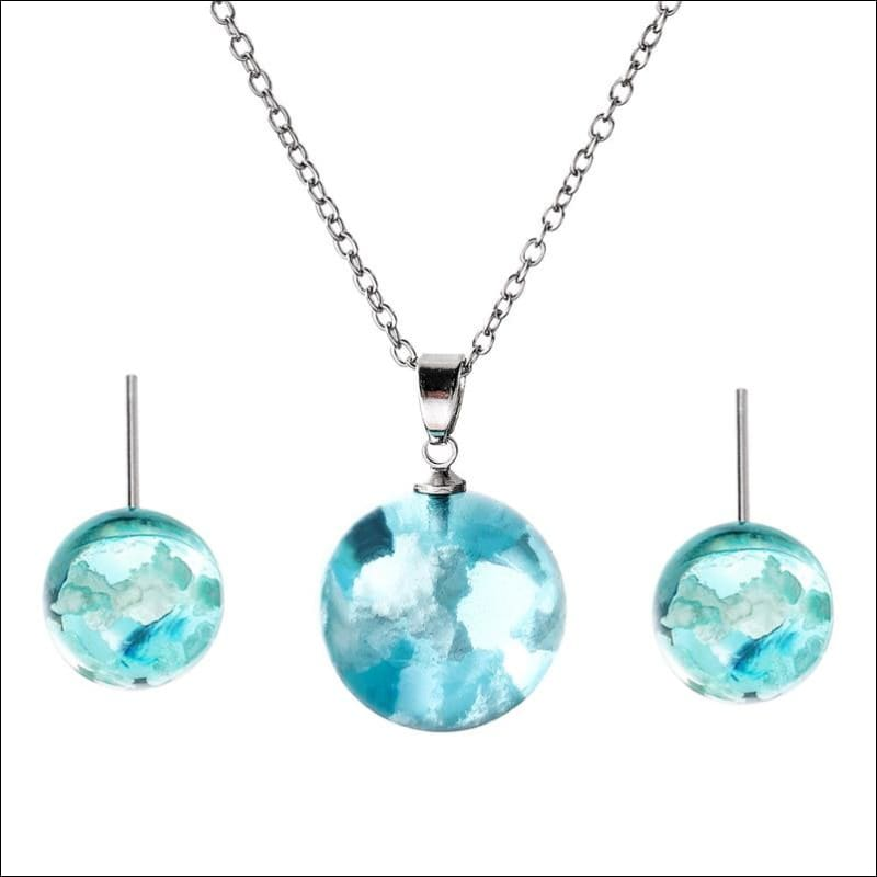 Pure Blue Sky & Clouds Pendant Necklace