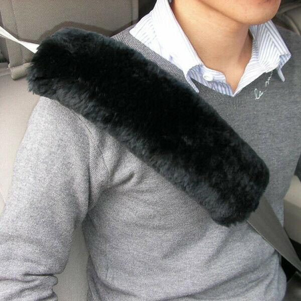2 x Genuine Sheepskin Seat Belt Pads Shoulder Pad 26cm Long Mocha