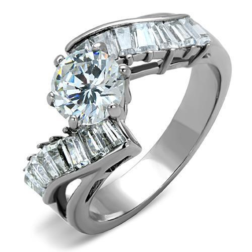 TK1533 High polished (no plating) Stainless Steel Ring with AAA Grade CZ in Clear